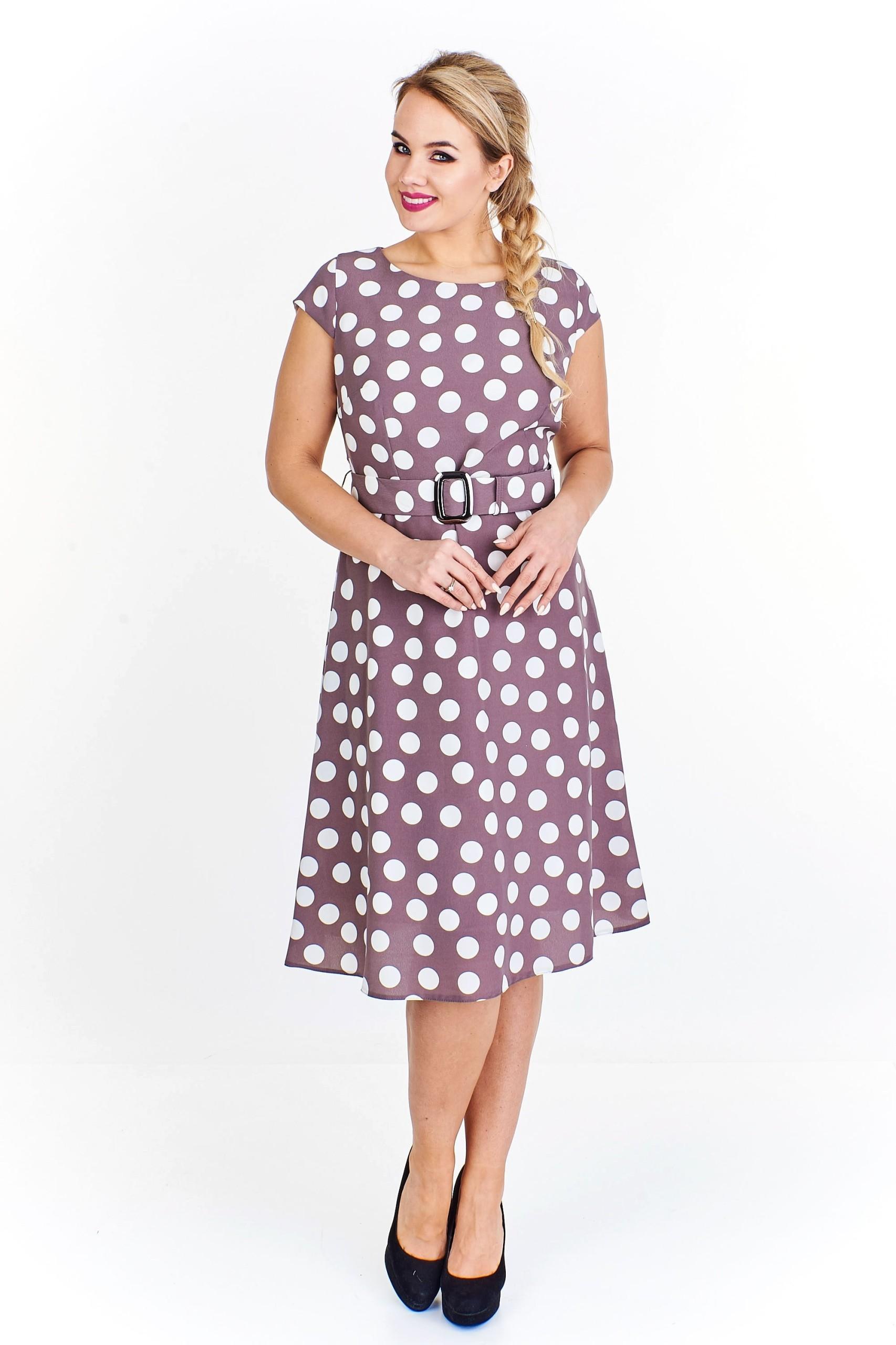 29a2c613 Rozkloszowana sukienka w grochy Beżowy 50 - 7440837656 - oficjalne ...
