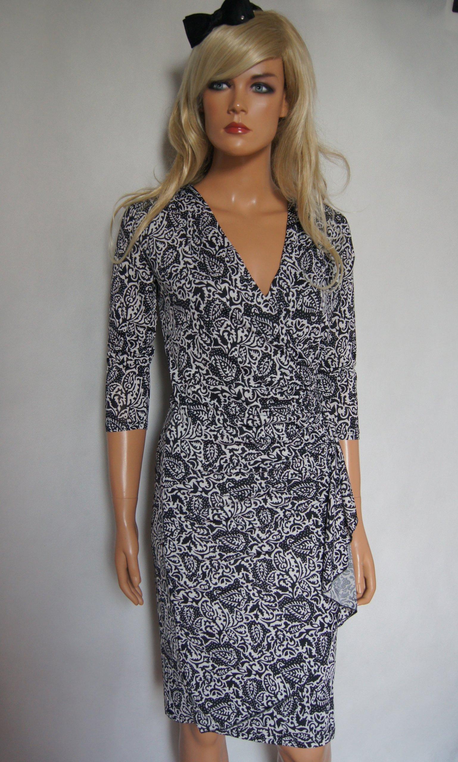 77f2410be1 Czarno biała sukienka wzorek MORGAN r 36 NOWA - 7132280019 ...