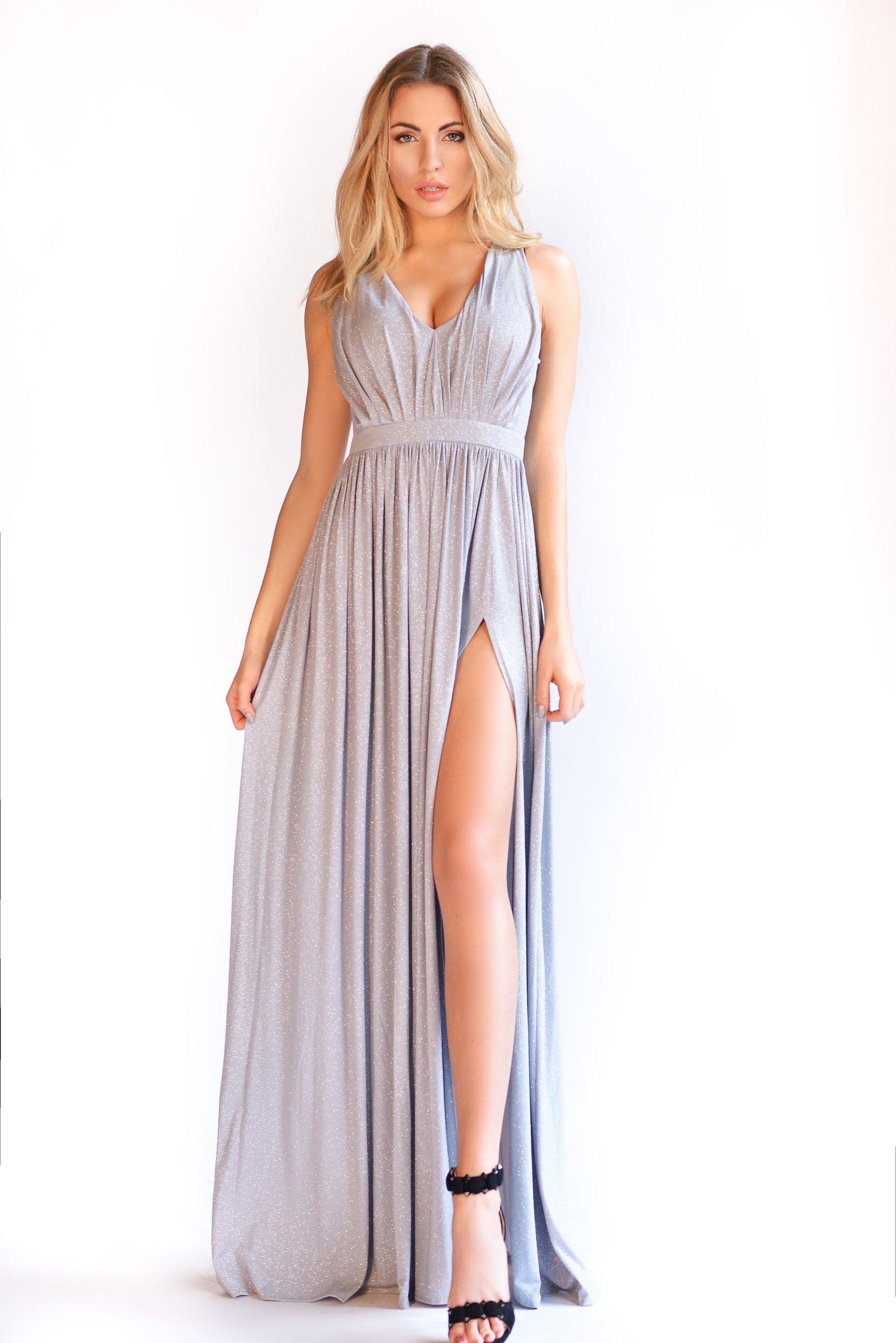 Sukienka Maxi Brokat Szara Wesele Vestito S 7024184492 Oficjalne