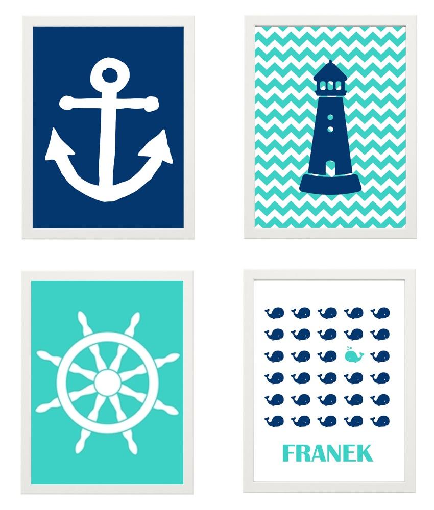 Zestaw 4 Obrazków Morskie Plakaty A4 Ramka Ikea
