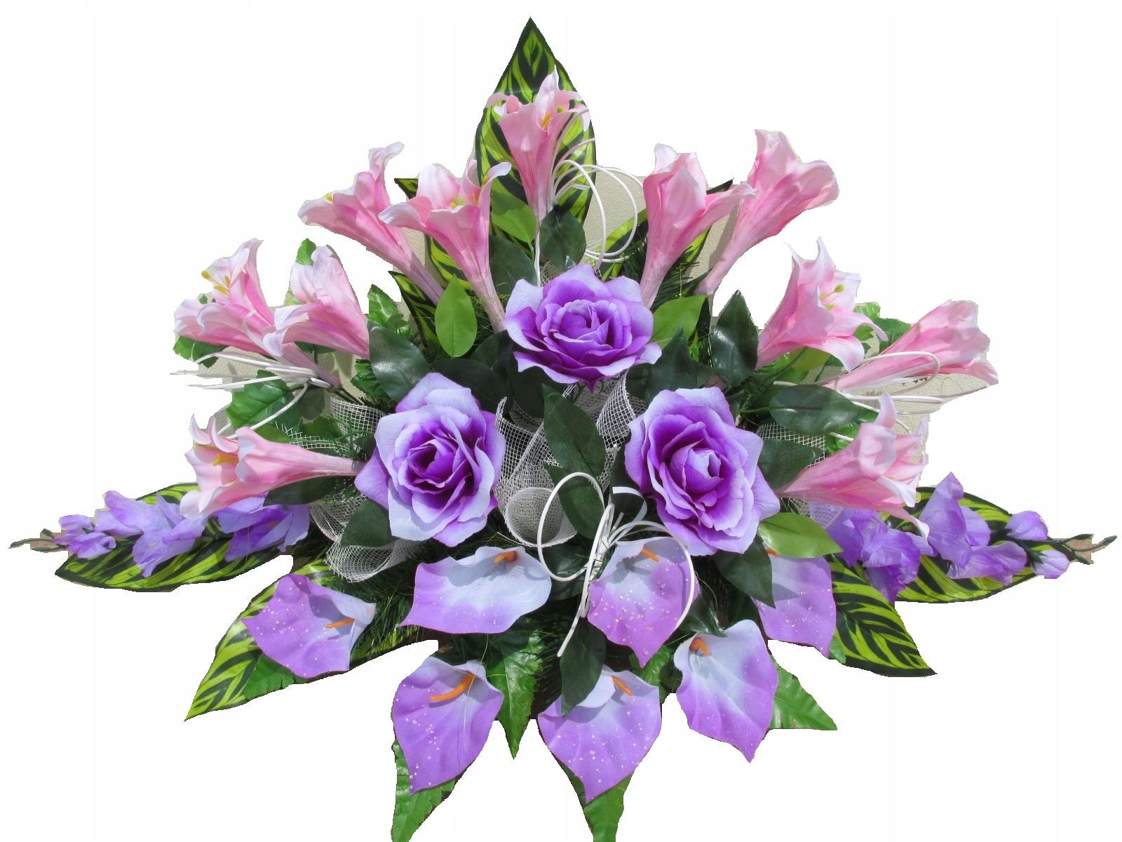 Stroik Na Grób Kompozycja Sztuczne Kwiaty Cmentarz