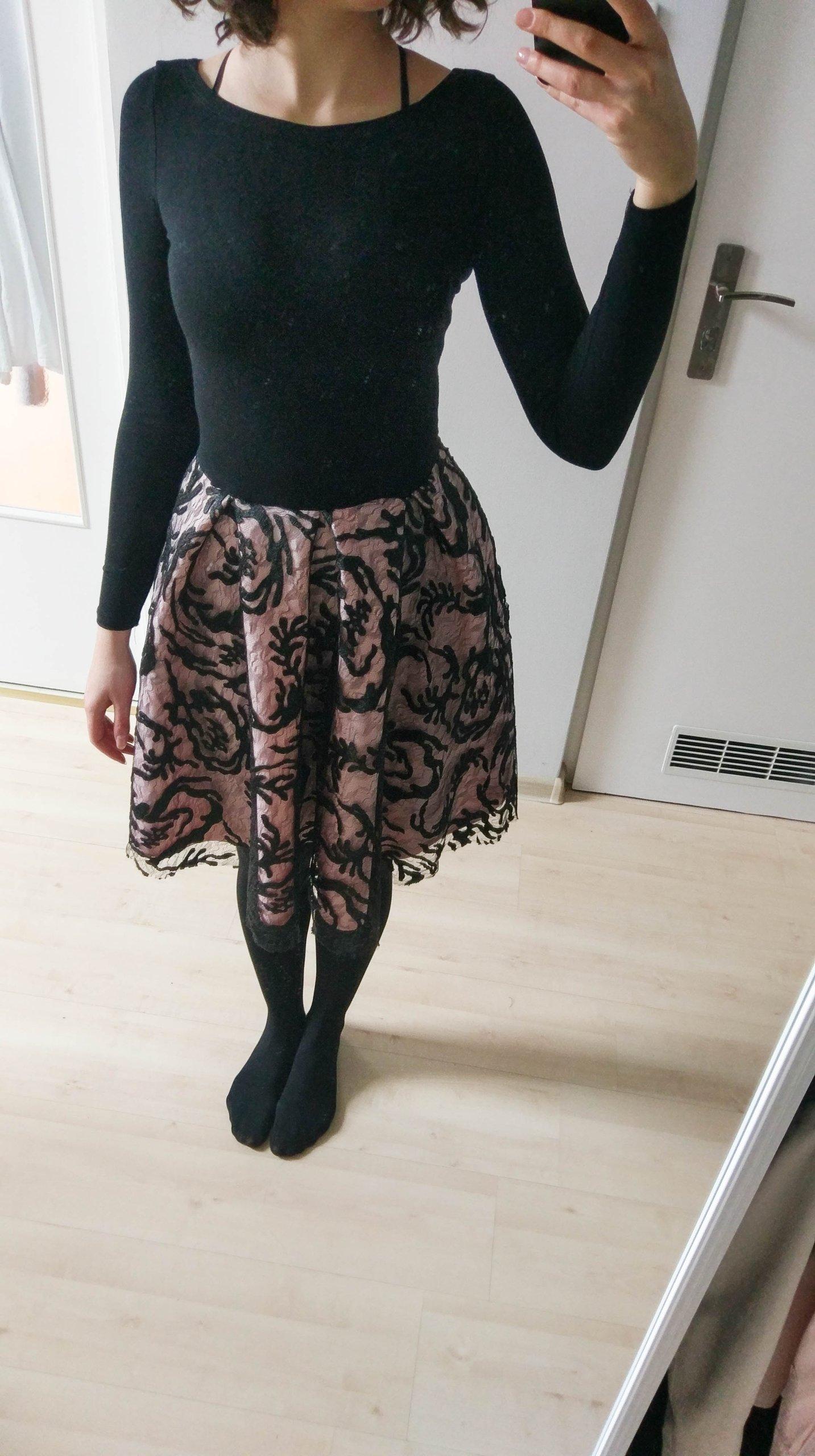 d272e6d5c5 sukienka VUBU czarno-różowa z koronką rozm. S 175 - 7187745486 ...