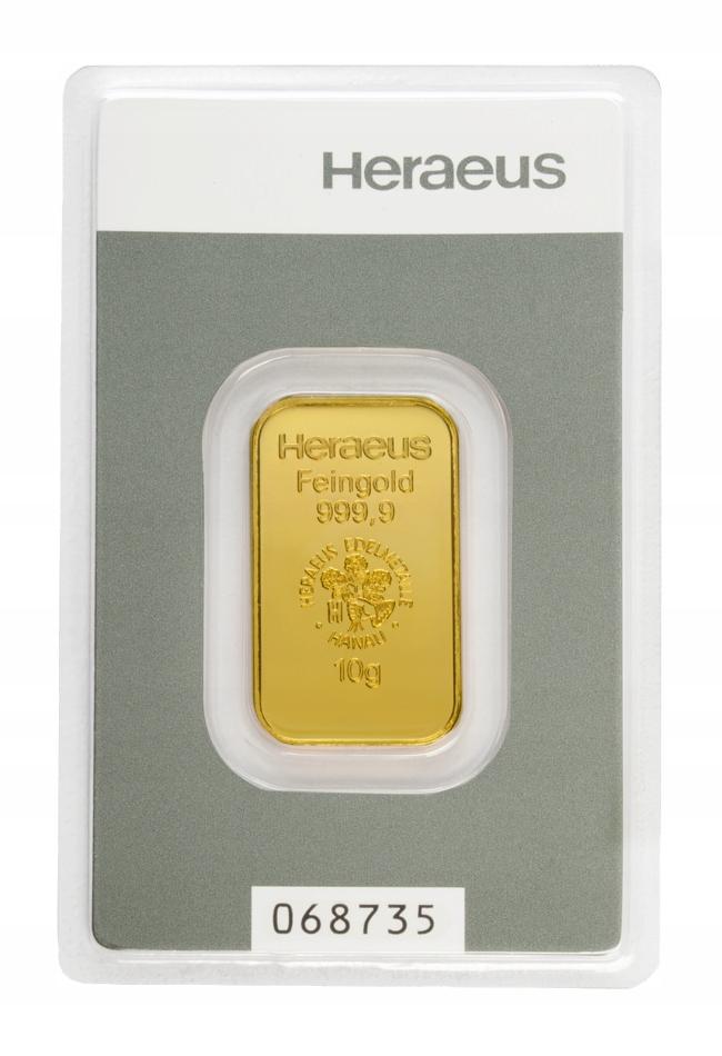 Sztabka Złota - Heraeus - 10 g