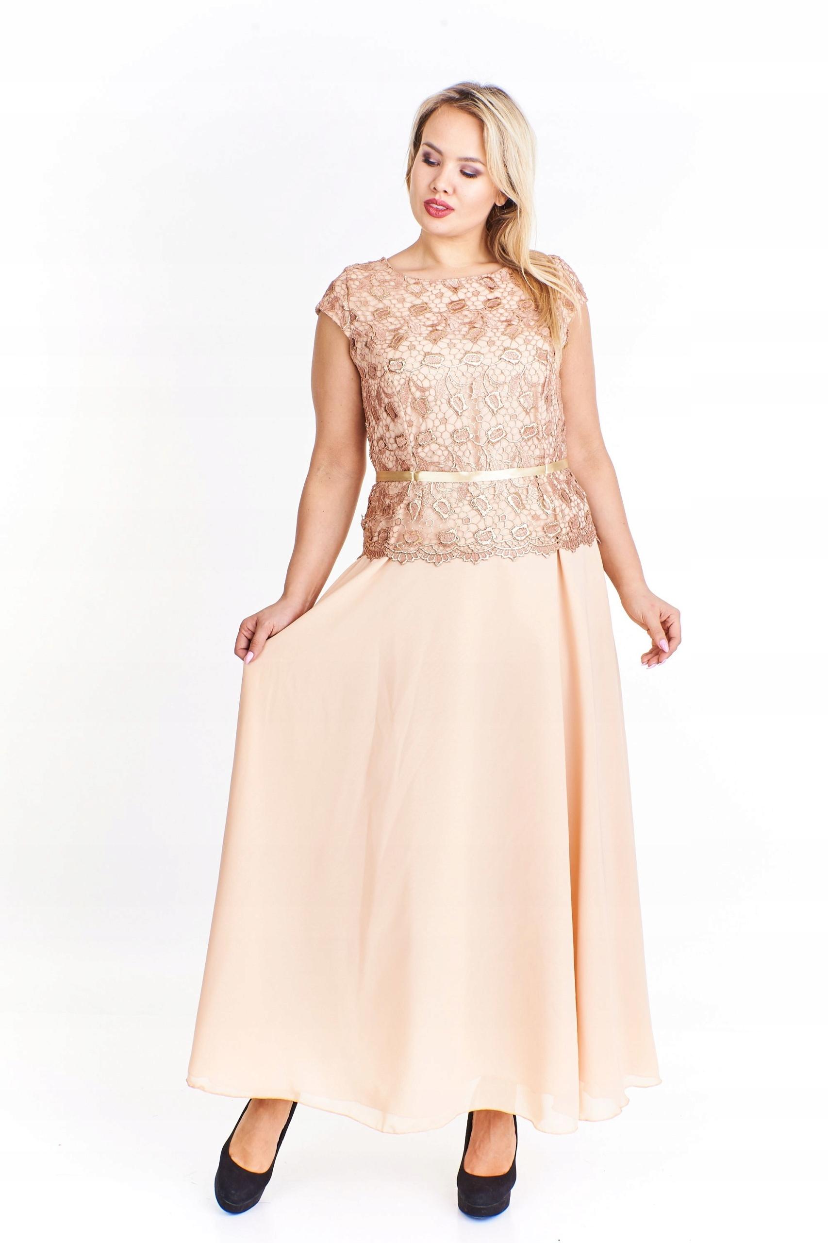 babbdbb948 Sukienka maxi z koronkową górą Beżowy 50 - 7443946906 - oficjalne ...
