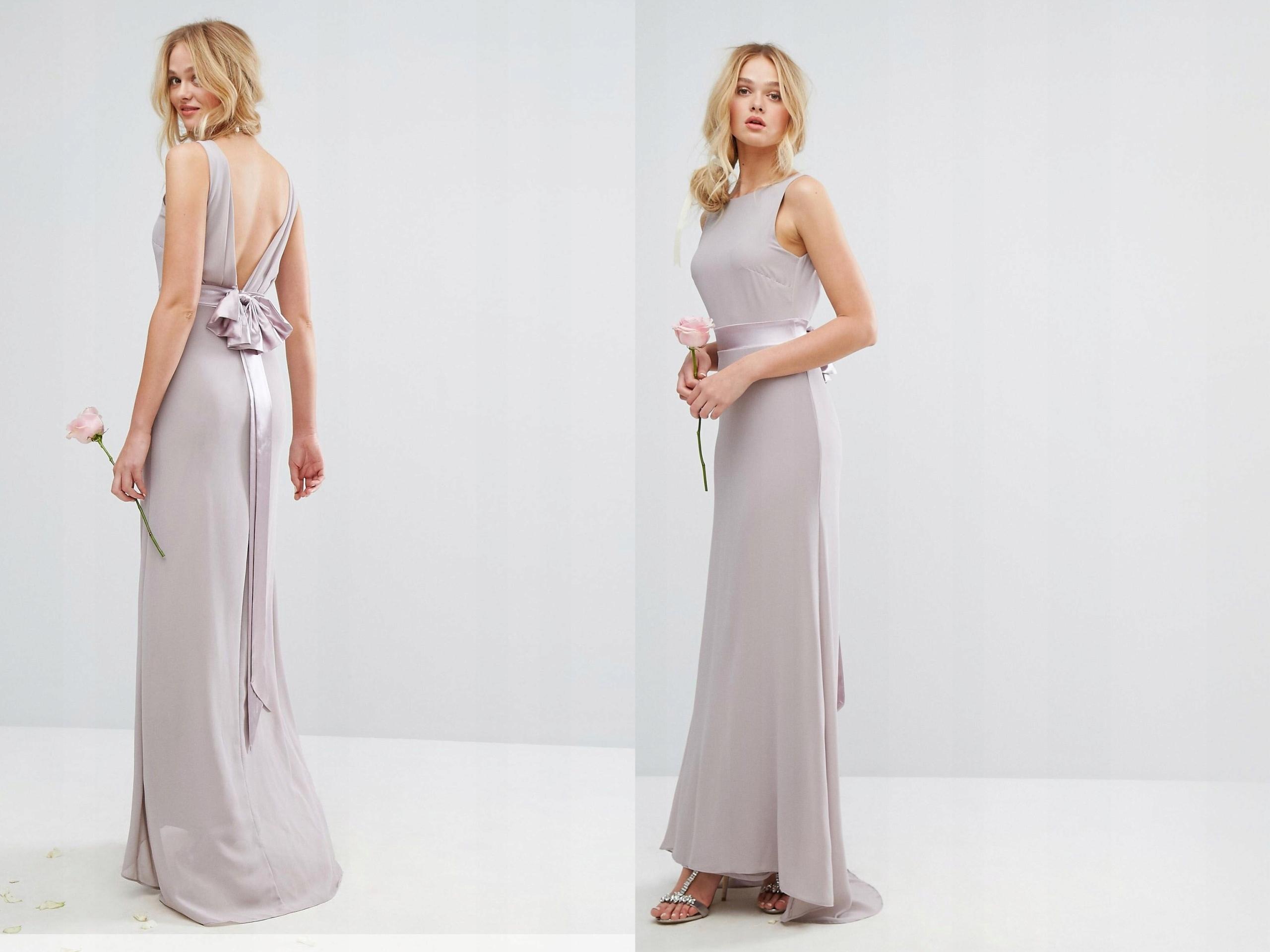 8ce139c77d TFNC Fioletowa Sukienka Maxi z Kokardą M 38 - 7509362935 - oficjalne ...