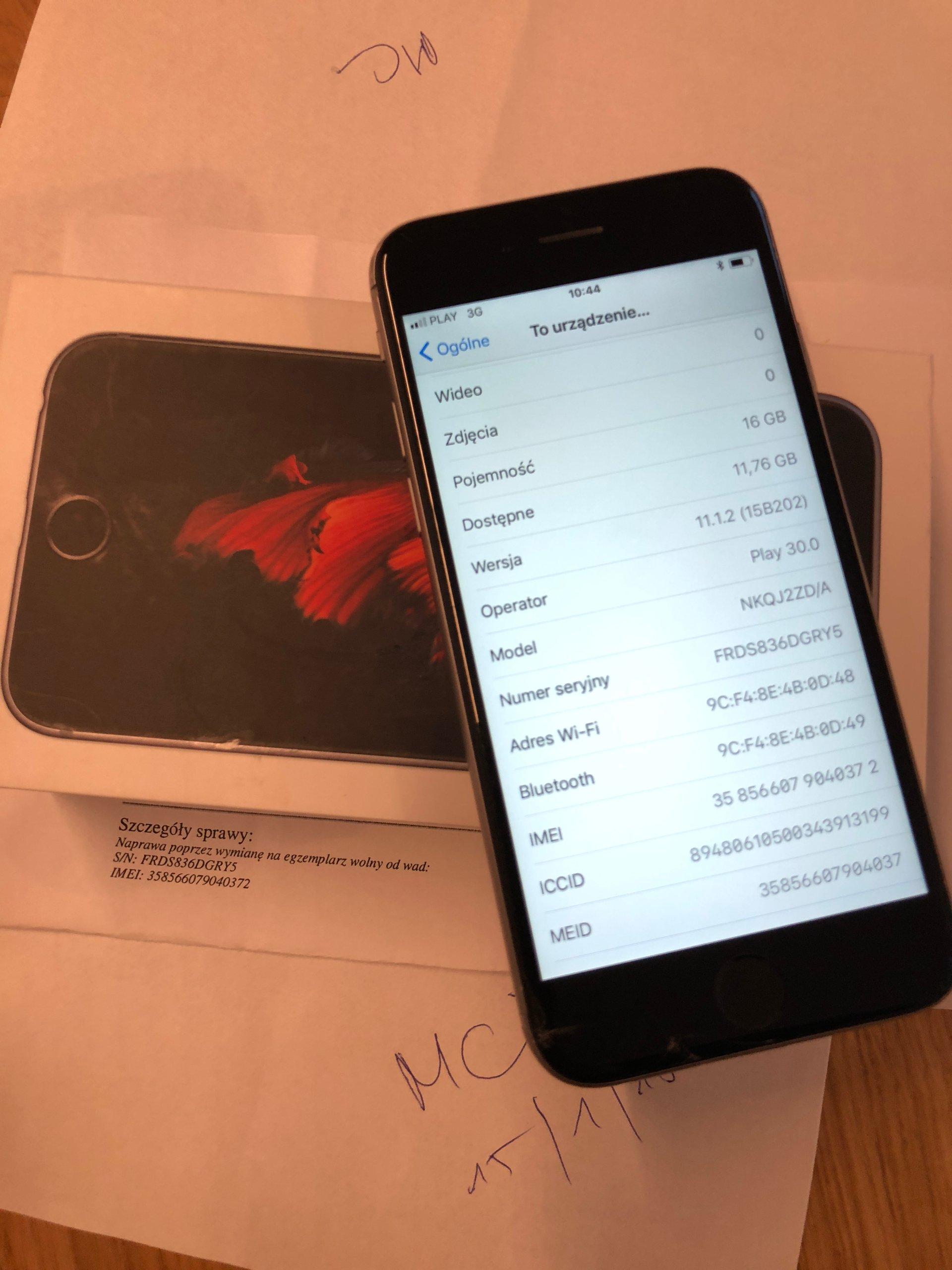 iPhone 6s 16GB GREY używany 16 miesięcy stan BDB