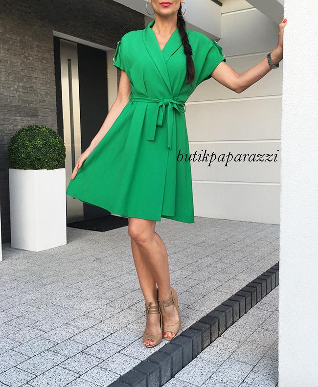 ea97007324 COCOMORE Zielona Casualowa Sukienka + Pas 36 - 7361103534 ...