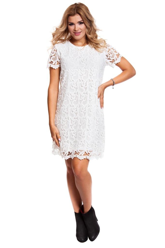 Sukienka ONLY onlSOSSI CROCHET S/S DRESS WVN 15129007 złamany biały 36