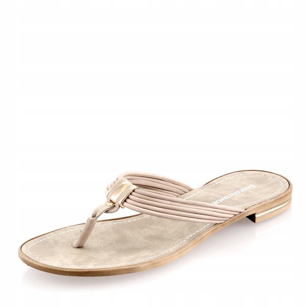 japonki sandały płaskie beżowe złote primamoda