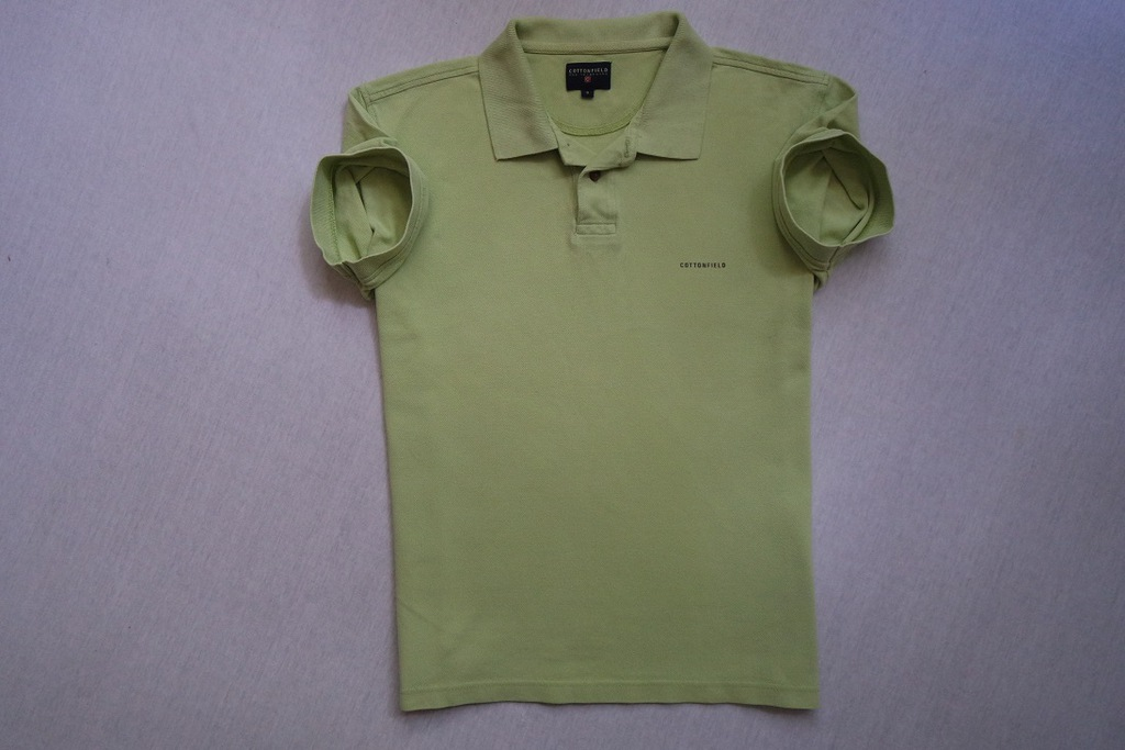 COTTONFIELD koszulka polo seledynowa logowana____S