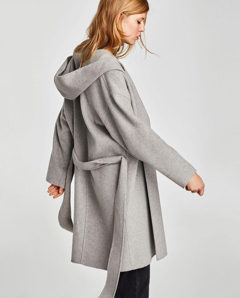 ZARA wełniany płaszcz z kapturem wiązany szary L