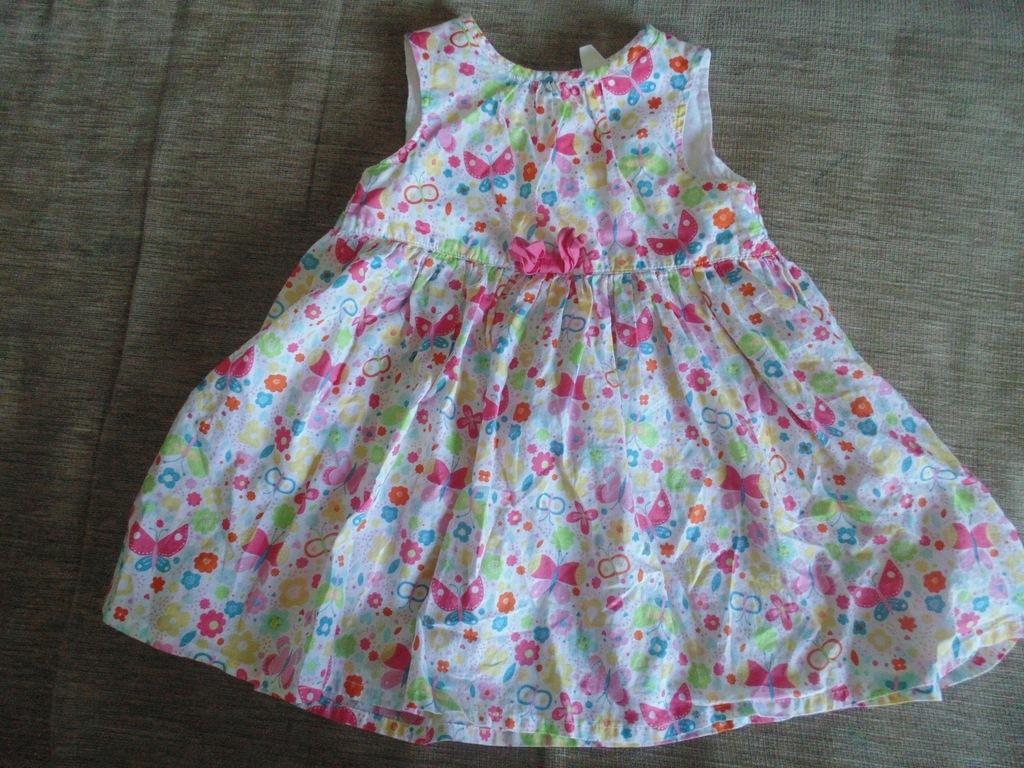 Sukienka biała w motyle i kwiaty HM 86 12 18 msc