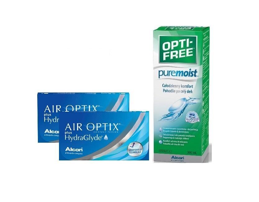 2 AIR OPTIX PLUS HYDRAGLYDE 3 szt. + OPTIFREE300ml