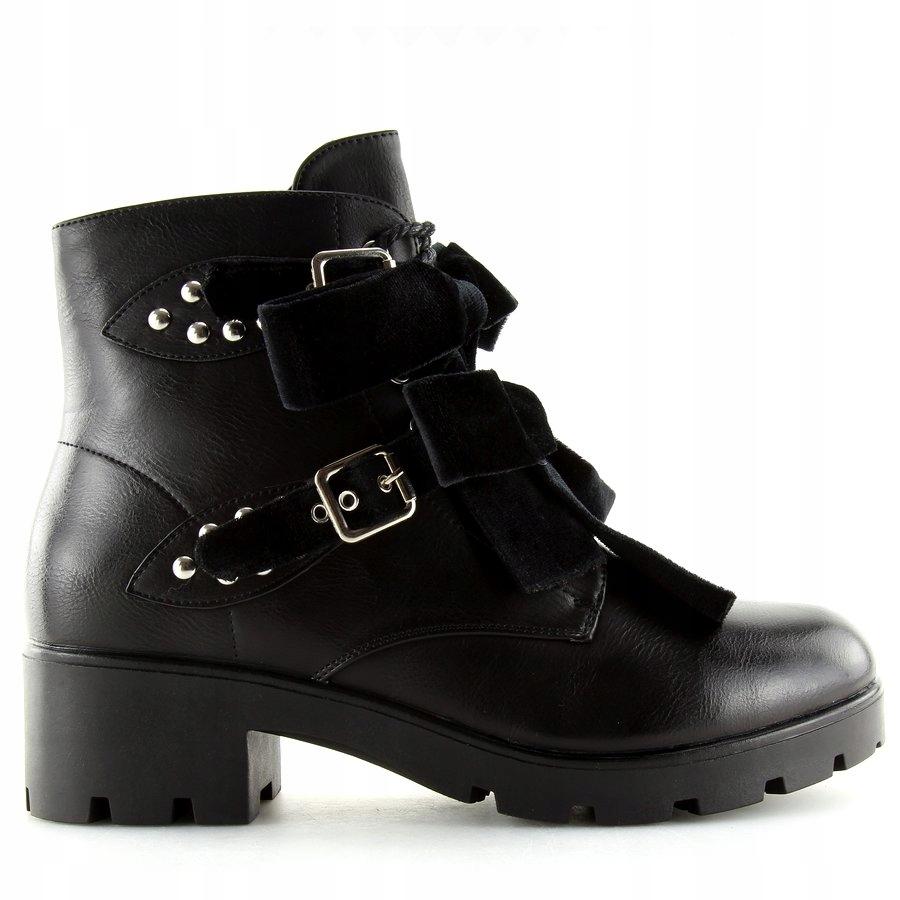 Czarne buty botki za kostkę, z kokardkami i ćwiekami, na