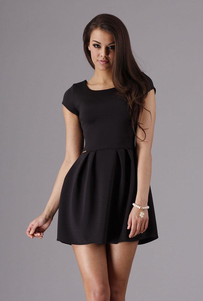 Letnia mini sukienka bombka czarna