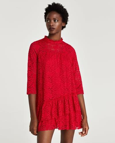 sukienka zara biała czerwona