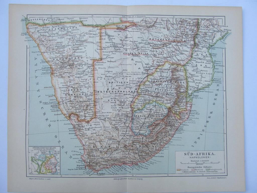 AFRYKA POŁUDNIOWA mapa 1896 r.