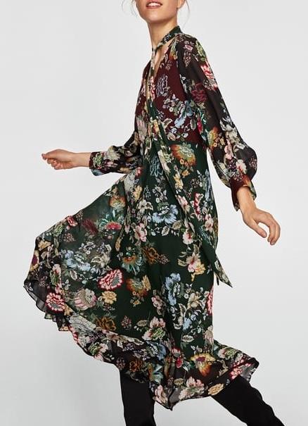 zara sukienki midi w kwiaty