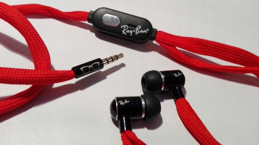 Słuchawki douszne Ray Ban sznurówki NOWE