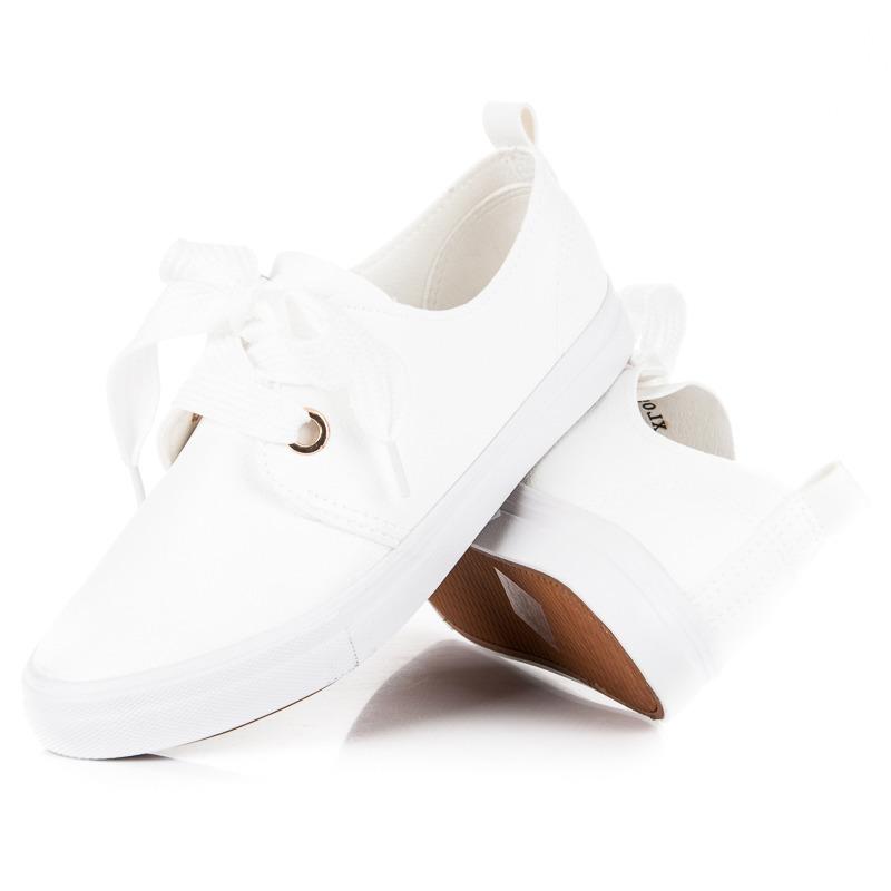 STYLOWE TRAMPKI WIĄZANE WSTĄŻKĄ 38 białe buty