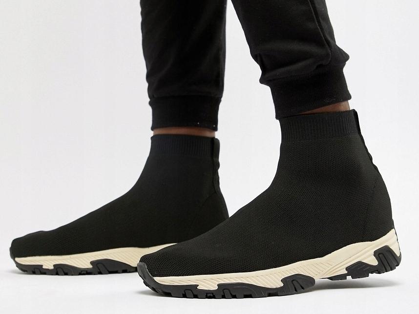 Czarne Buty Sportowe Wsuwane Skarpeta 41