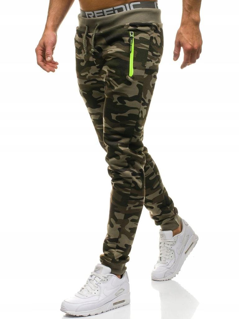 Spodnie męskie joggery moro zielone UX1957