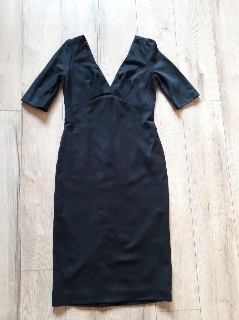 MASSIMO DUTTI sukienka midi M 38 czarna 100% wełna