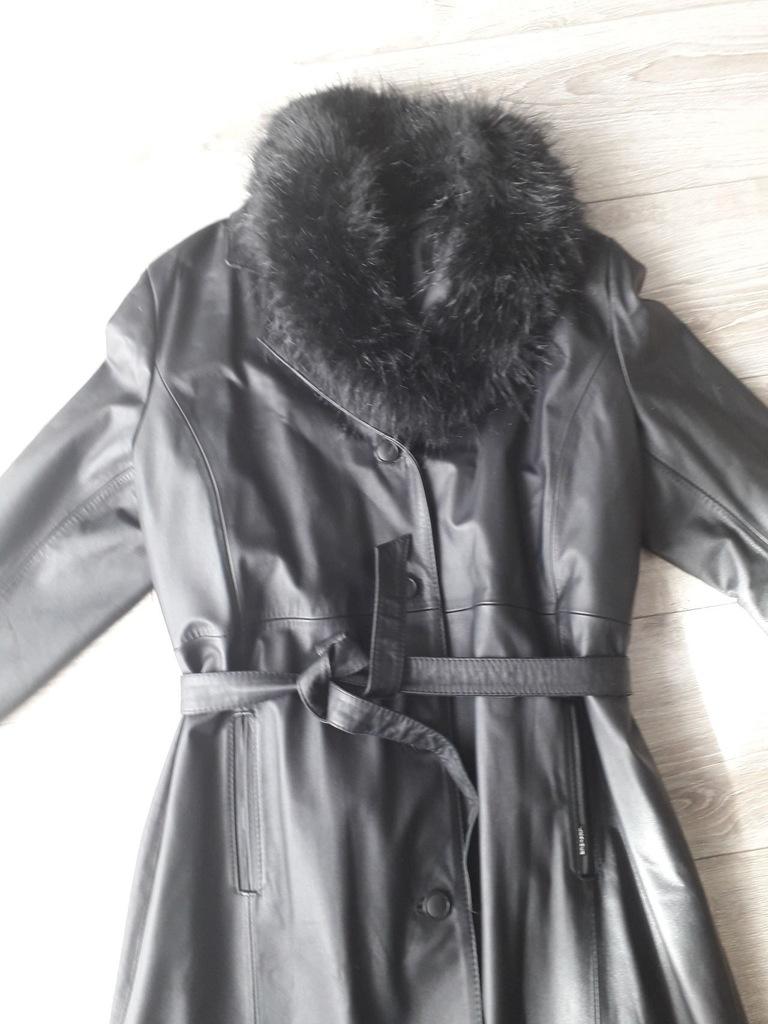 Długi damski czarny skórzany płaszcz r. XL 42