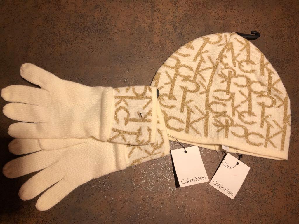 Calvin klein czapka i rękawiczki komplet