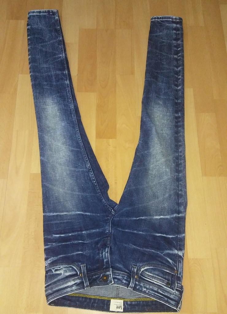 Spodnie jeansy LEE rurki przecierane S