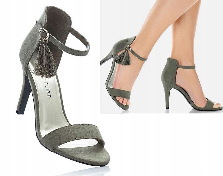 oliwkowe sandały na szpilce