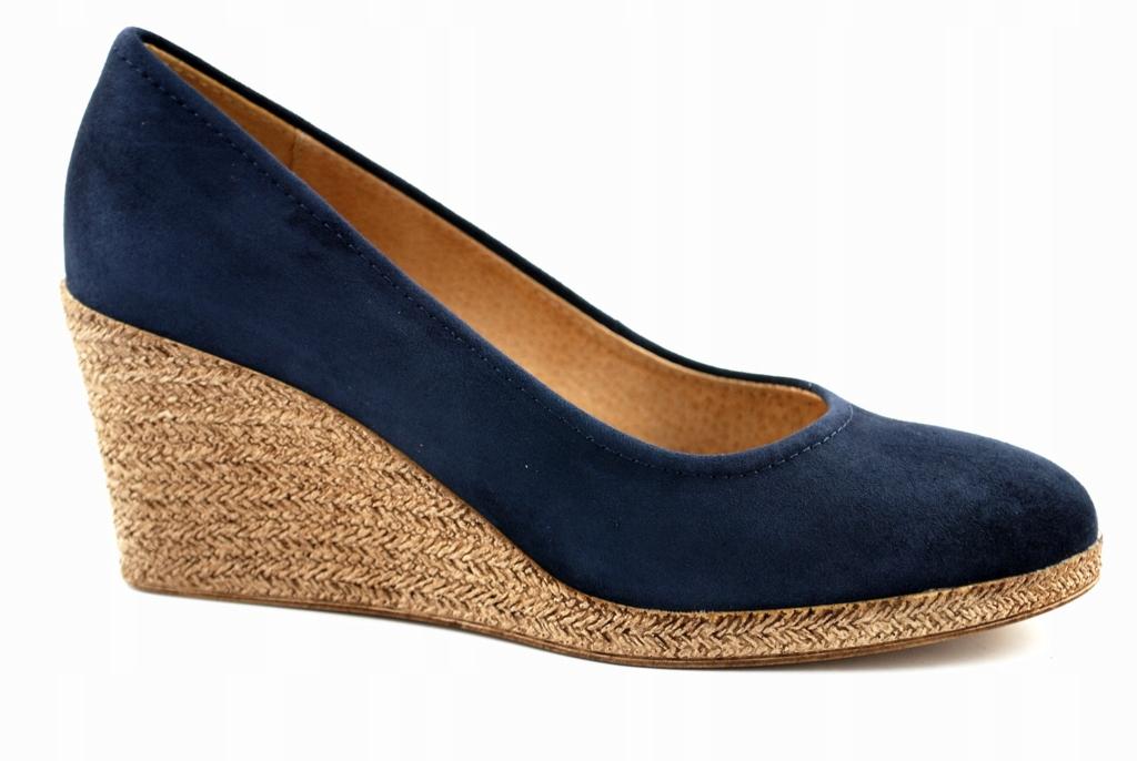 Skórzane sandały Ryłko na koturnie r 40,5 jak nowe