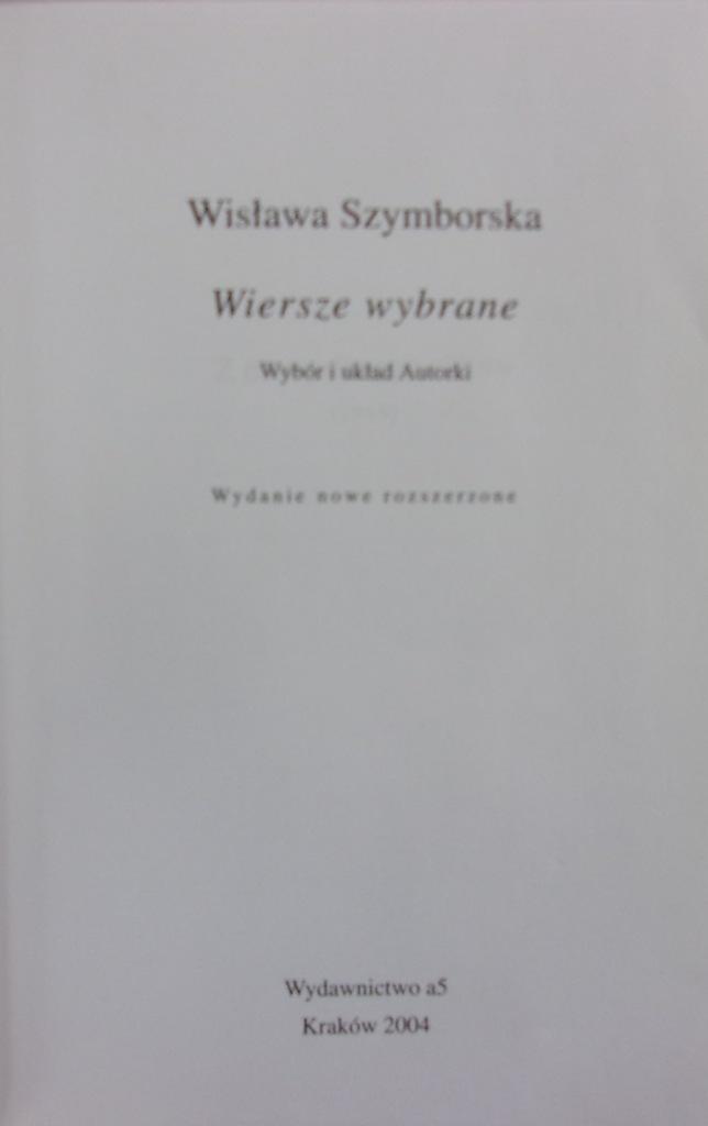 Wisława Szymborska Wiersze Wybrane 7706751223
