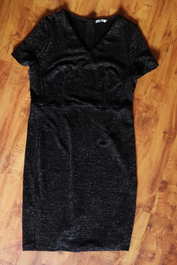 Sukienka srebrna nitka 42 XL czarna Sylwester