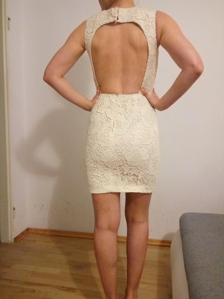 koronkowa sukienka z odkrytymi plecami zara