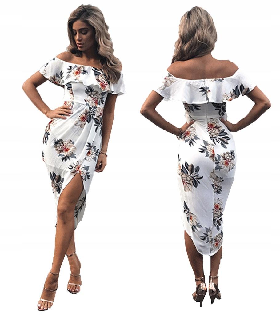 Asymetryczna Sukienka Hiszpanka Kwiaty Boho Lato L 7437468900 Oficjalne Archiwum Allegro