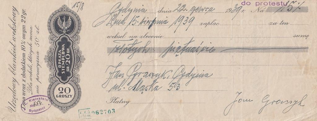 Gdynia 1939 Weksel