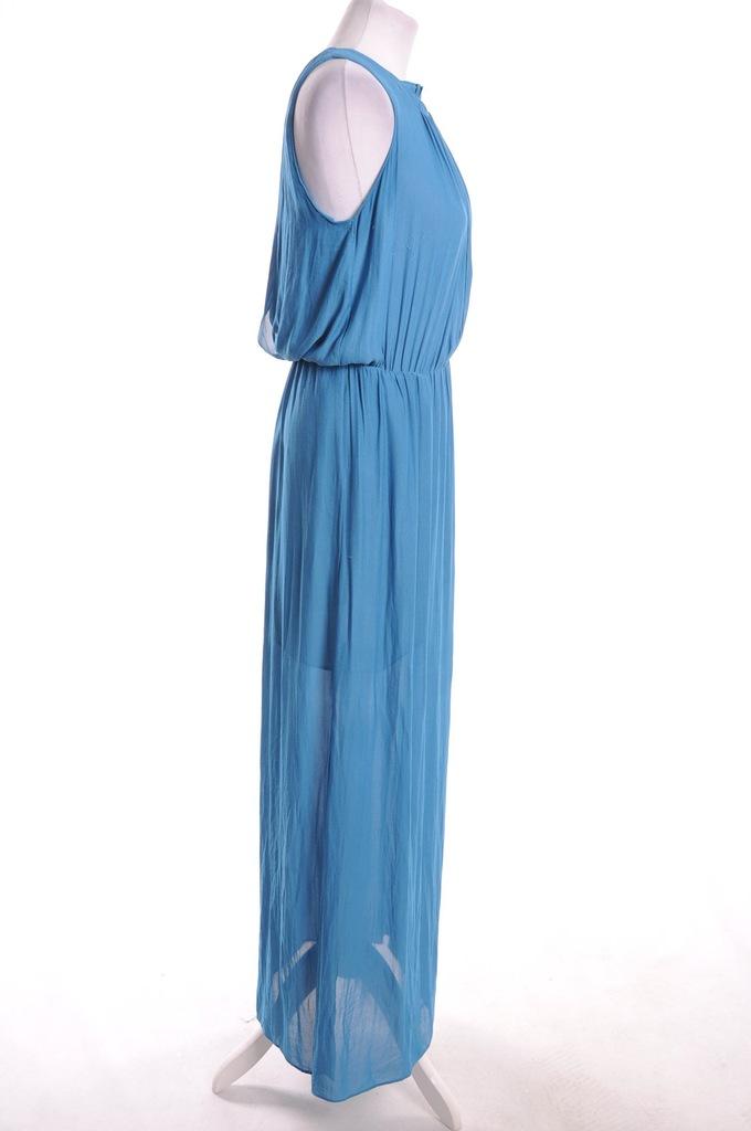 zara sukienka niebieksa z rozkloszowanymi ręlkawami