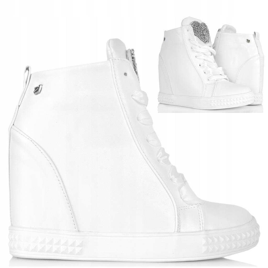 BIAŁE BOTKI ze Wstążką Sneakersy na Koturnie 39