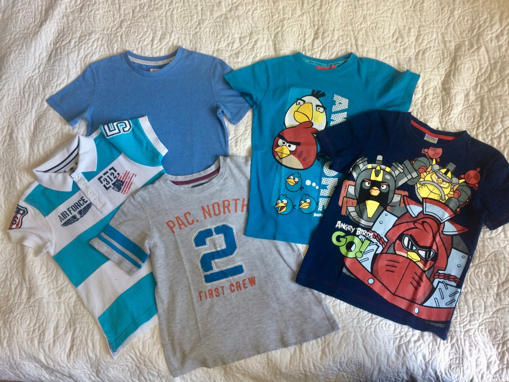 koszulki T-shirt r.128 zest. pięciu koszulek 6-8L