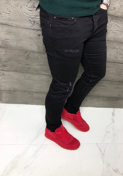 Czarne męskie jeansy z przetarciami ctrl102 36