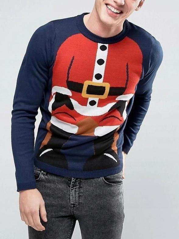 mo2 sweter świąteczny mikołaj męski granatowy S