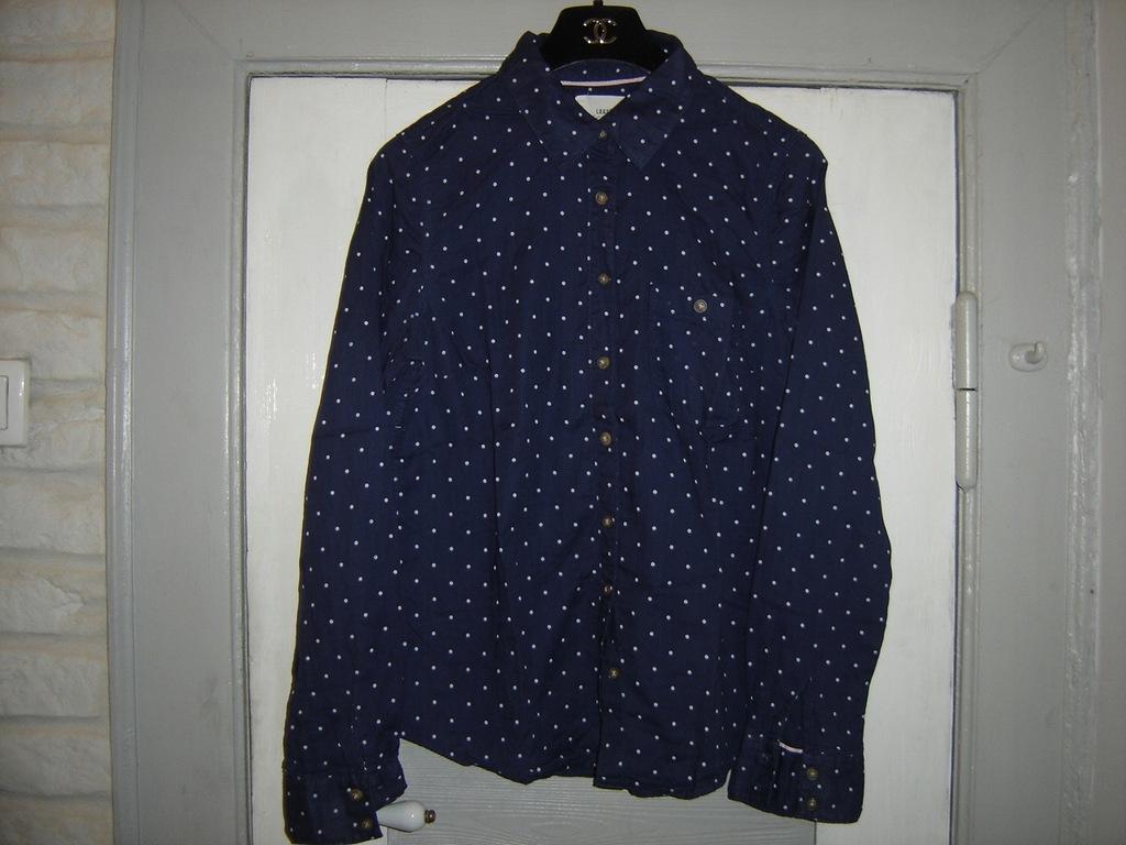H&M granatowa koszula w białe groszki 38 7638185335  K1QCa