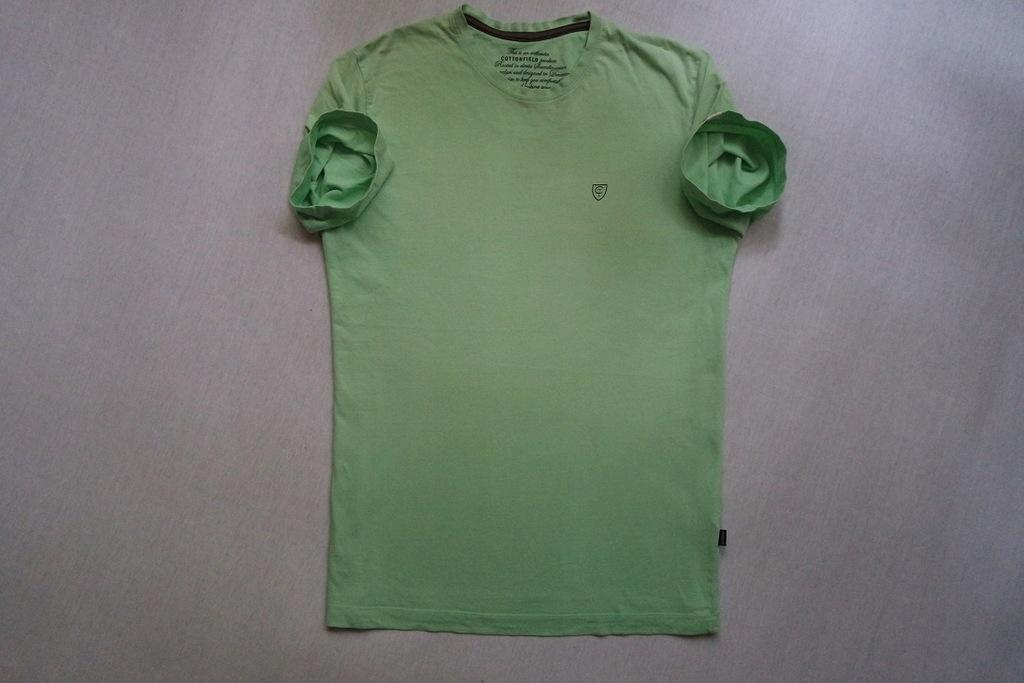 COTTONFIELD koszulka zielona t-shirt logowana_L/XL