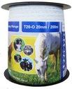 Taśma dla koni biała 20mm /200m pastuch ogrodzenie