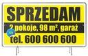 Baner reklamowy 2x1m Sprzedam DOM/Działkę Wzory