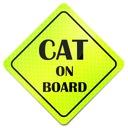 CHROŃ SWOJE ZWIERZĄTKO CAT ON BOARD NAKLEJKA FLUO