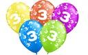 Balony na urodziny 3 TRZECIE PARTY Balon 5 szt.