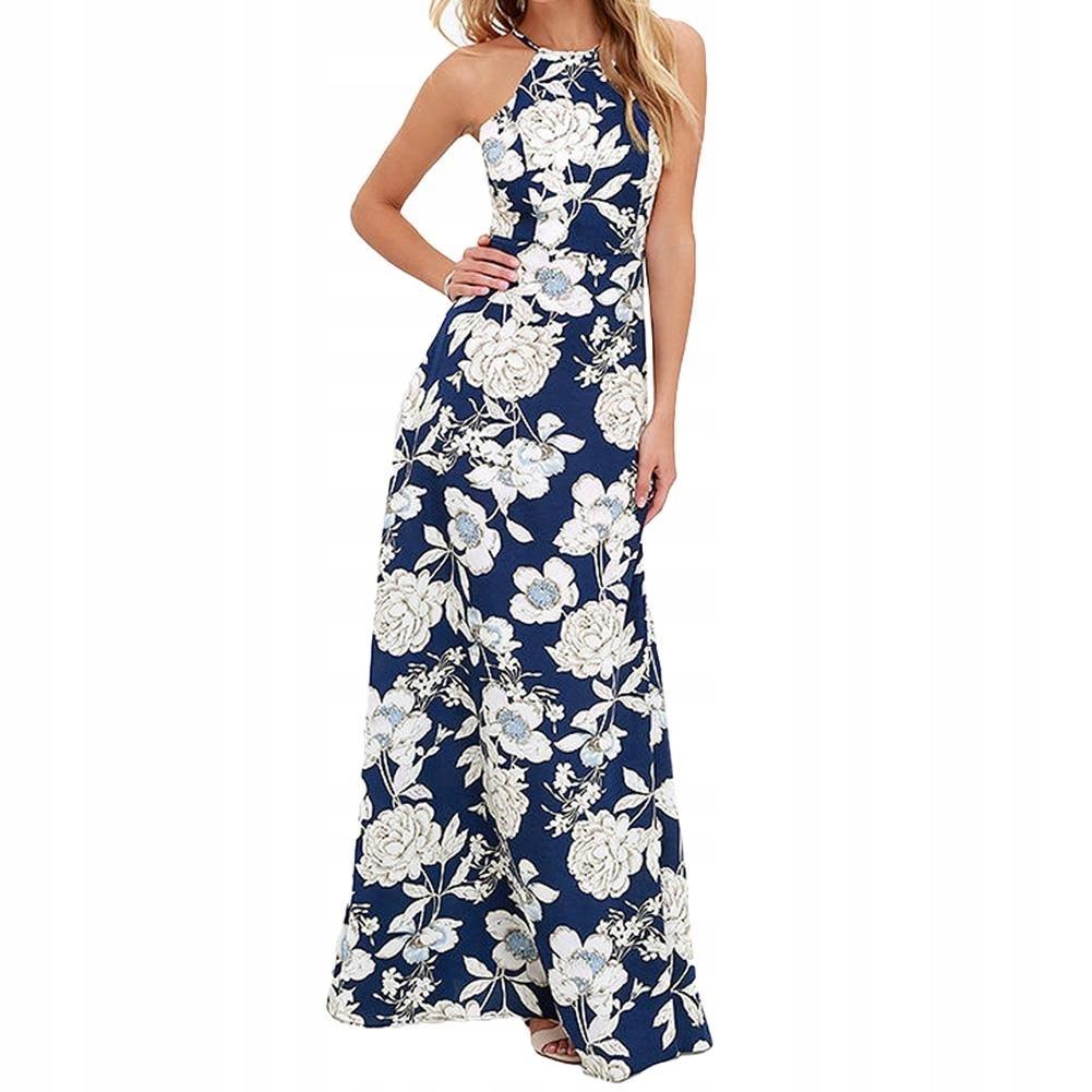 c6a5ca0f4e Sukienka długa maxi wesele kwiaty granatowa XL 42 7644746461 ...