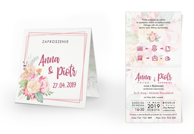 Zaproszenia ślubne Kwiaty Bukiety Akwarele 7354933926 Allegropl